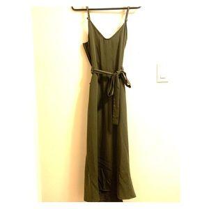 Army green asymmetrical midi stunning dress